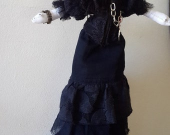 Handmade gothic rag doll, Miss Peregrine doll, witch doll, handmade gothic rag doll, collectors doll, horror dollm, OOAK doll, victorian