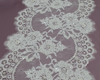 Beaded ivory chantilly lace trimming, Sequin lace trim, Pearl lace French lace trim Chantilly lace Bridal lace Wedding lace White  EVSL031CB