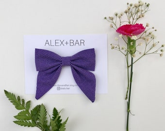 Purple Sailor Bow | Baby Girl Accessories | Girls Hair Accessories | Bow Headband | Bow Clip