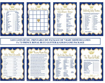 Royal Blue Glitter Prince Baby Shower Game, Royal Blue Gold Baby Game, Printable Prince Baby Game, Crown Baby Game - Printables 4 Less 0152