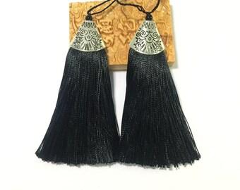 Silk Tassel Black 3 pcs Mala Tassel 8CM Silk Jewelry Making Tassel Silk Medium Long Tassel Boho Keychain Handbag Purse Charm Accessories