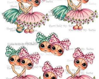 Instant Download 3D deco Card Toppers & Papers Bestie Mandy Big Head Dolls 3d sheet Huggables  By Sherri Baldy