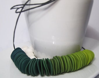Polymer Clay Forest Ombré Disc Necklace