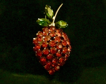 Glowing Vintage 3 D Rhinestone Red Strawberry Pin in Japaned Setting 50 mm tall