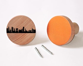 1 New York & 1 Copper Wooden Coat Racks Knobs Wall Hooks Garment Organizer - hand screenprinted - City Dots NYC Skyline - by 44spaces