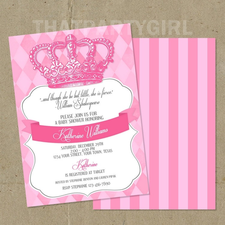 Princess Baby Shower Party Invitations DIY U Print