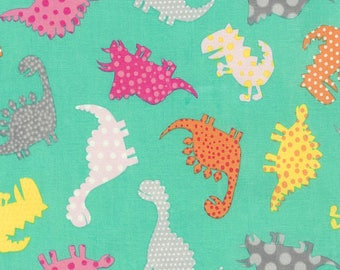 Tossed Pattern Dinosaurs on Teal/Mint (Aqua) from Timeless Treasures