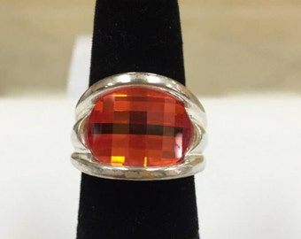 Woman's Sterling Silver Ring With Orange Faceted Stone!!!  Size 5  Free US Shipping!!!