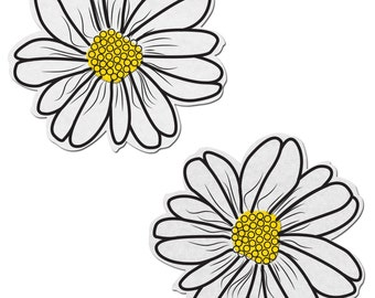 Pasties - Wildflower: White and Yellow with Black Flower Nipple Pasties by Pastease® o/s