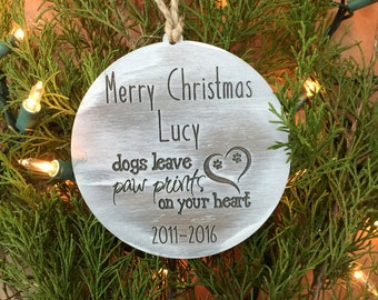 Dog Ornament,Paw Prints, Christmas Ornament, Pet Ornament, Christmas,Dog Memorial, Memorial Ornament, Pet Memorial Gift, Tree Ornament