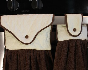 Brown Hanging Towel Set- REVERSIBLE - U Pick 10 Fabrics 10 Cording/Towel Colors -Kitchen Towel (Cream/Med Brown) - Great Gift! Gift under 10