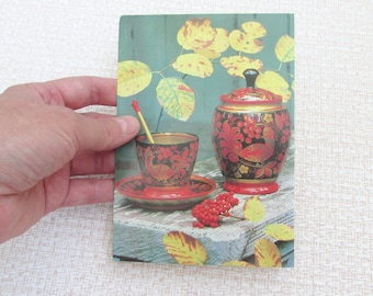 Russian gift postcard Russian postcard Khokhloma Russian style Autumn gift Postcard kitchen picture Gift for sister Gift women Gift for mom