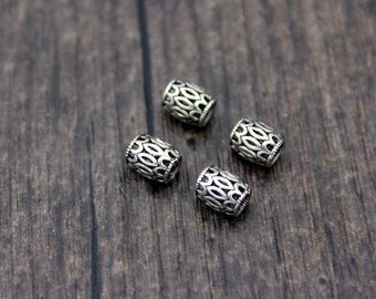 4 Sterling Silver Tube Bead,5x7mm Sterling Silver Spacer Bead,Hollow Beads,Silver Beads Spacer