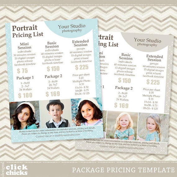 Photography Package Pricing List Template Portrait