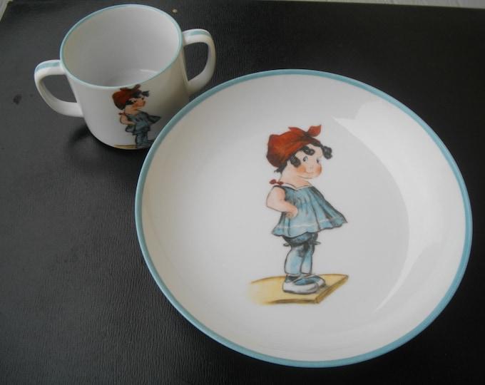 plate/Cup/granddaughter / handpainted / porcelain