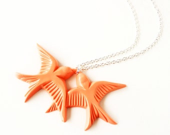 Peach orange vintage plastic swallow love birds silver necklace