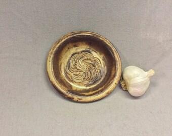 Garlic Grater Dipping Dish.Rustic Rust glaze.