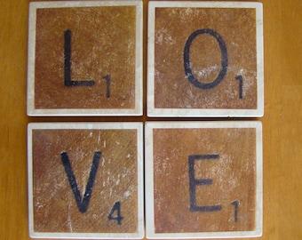 LOVE Scrabble Tile Drink Coasters Set of 4