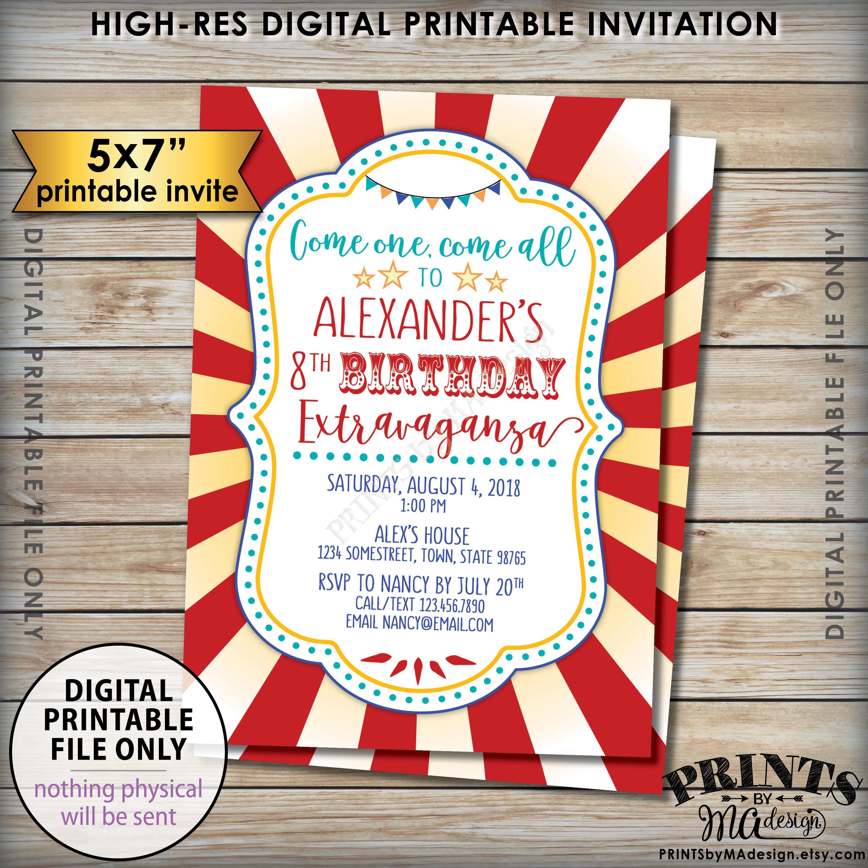Contemporary Circus Birthday Invites Inspiration - Invitations and ...