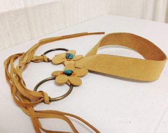 Leather Boho Belt,Turquoise Stones, Daisy's
