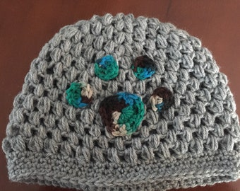 Crocheted Puff Stitch Beanie w/ Pawprint