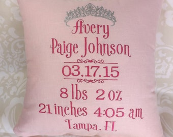 Birth Announcement Pillow, Baby Pillow, Birth Pillow