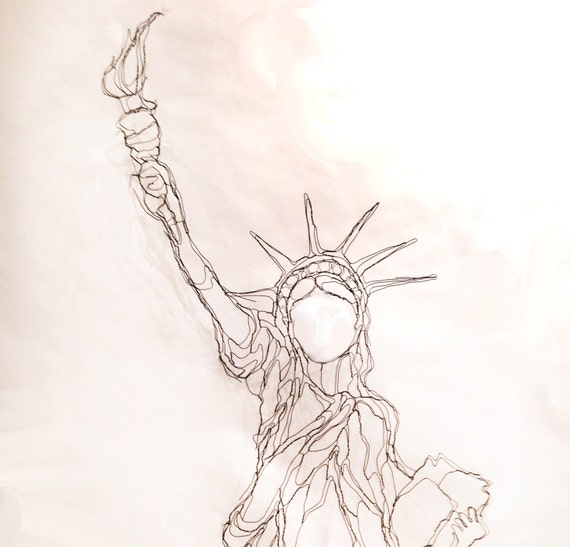 Lady Liberty 36 Wire Statue Of 2D Wall Art