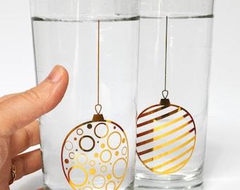 Gold Christmas Ornament Glassware - Set of 2 Christmas Glasses, Gold Christmas Bulbs, Holiday Highball Glasses