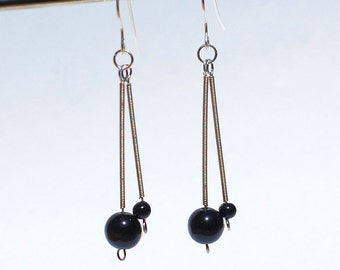 Guitar String Jewelry- Black Bead & Silver Drop Recycled Guitar String Earrings, Music Jewelry, Guitar Player Gift by Tanith Rohe