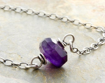 Minimalist Purple Necklace - Amethyst Birthstone Necklace - February Birthstone - Purple Gemstone - Faceted Amethyst - Sterling Silver 4778