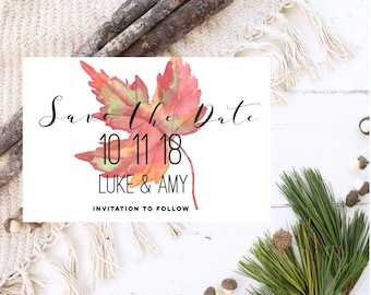 Fall Save the Date postcard magnets. Save the Date magnets. Rustic Wedding magnets. Printed Save the date. Autumn Save the date postcards.