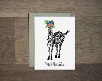 Illustration de carte - zèbre - heureuse anniversaire - fleur art - à la main lettrage