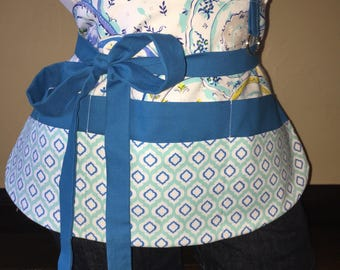 Multi Color Blue Half Waist Pocket Apron