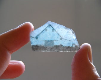 barn and fog - image on beach glass, weathered and natural