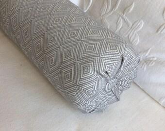 Gray woven bolster lumbar accent throw pillow 6x14 6x16 6x18 6x20 6x22