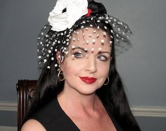 POLKA DOT KISS Rouge Touch Headband Veil Hair Adornment