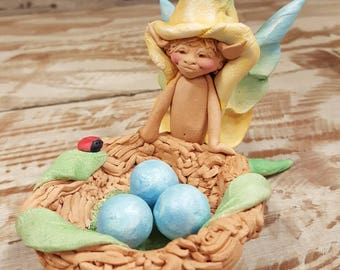 Elf with Nest Ceramic Sculpture by Steven Wise