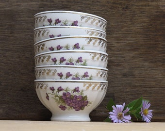 Set of 6 Shabby french tiny cafe au lait bowl , country flowers , violettes