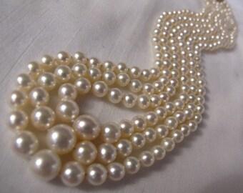 Stunning Lustrous Akoya Graduated Pearl Necklace,Sapphire Diamond Clasp,Multi Strand High Luster Akoya Sea Pearls,Beautiful Designer Pearls