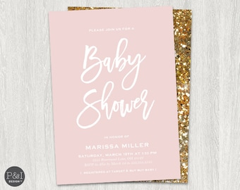 Baby Shower Invitation | Pink and Gold | Digital Printable File (5x7)