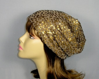 FREE SHIPPING Boho Sequin Hat Sequin Chemo Cap Boho Slouchy Beanie Taupe Slouchy Hat Sequin Slouchy Hat for Hair Loss Lined Sequin Slouchy