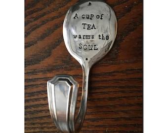 Repurposed Silverplate Spoon Hook- Cup of Tea