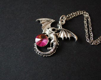 Flying dragon pink crystal necklace