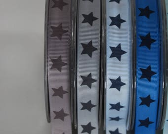 Ribbon grosgrain polyester 16mm x 2 m gray and light gray stars