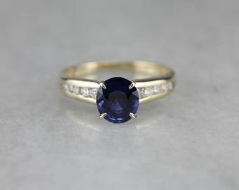 Modern Sapphire Ring, Sapphire and Diamond, Anniversary Ring 1N8M7NTL-R
