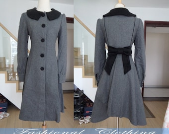gray coat wool coat winter coat spring autumn coat warm coat women clothing women coat long sleeve vintage coat long jacket outerwear dress