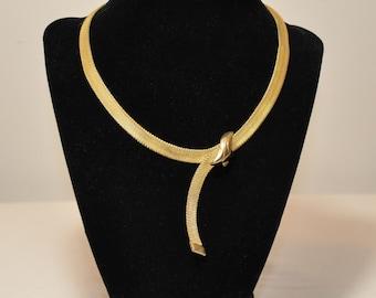 Vintage Napier Signed Gold Mesh Necklace
