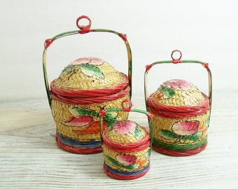 Vintage Asian Chinese Wedding Baskets Oriental Hand Painted Baskets Woven Wicker Split Bamboo 1950s Made in People's Republic of China