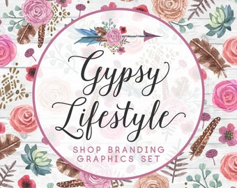 Boho Watercolor Arrow Shop Branding Cover Photo Banners, Icons, Business Card, Logo Label + More - 13 Premade Graphics - GYPSY LIFESTYLE