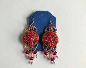 Red and golden chandelier earrings Bead embroidered earrings on felt Statement earrings for passionate lifestyle admirer